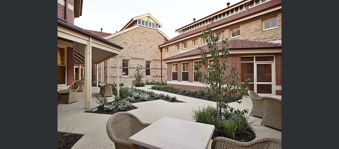 Landscaped courtyard