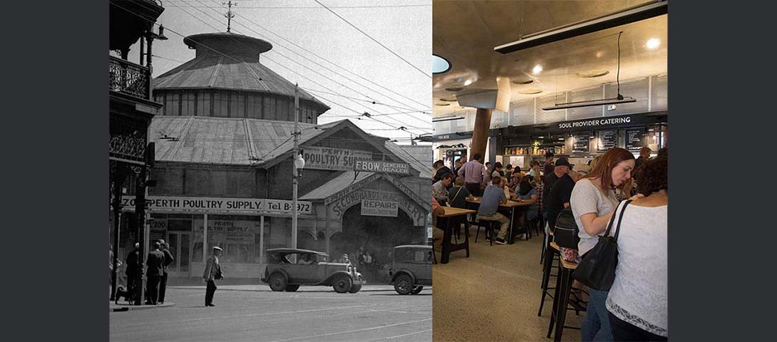 Legacy of produce - Old Perth Markets 1931 and Market Hall inside Yagan Square 2018